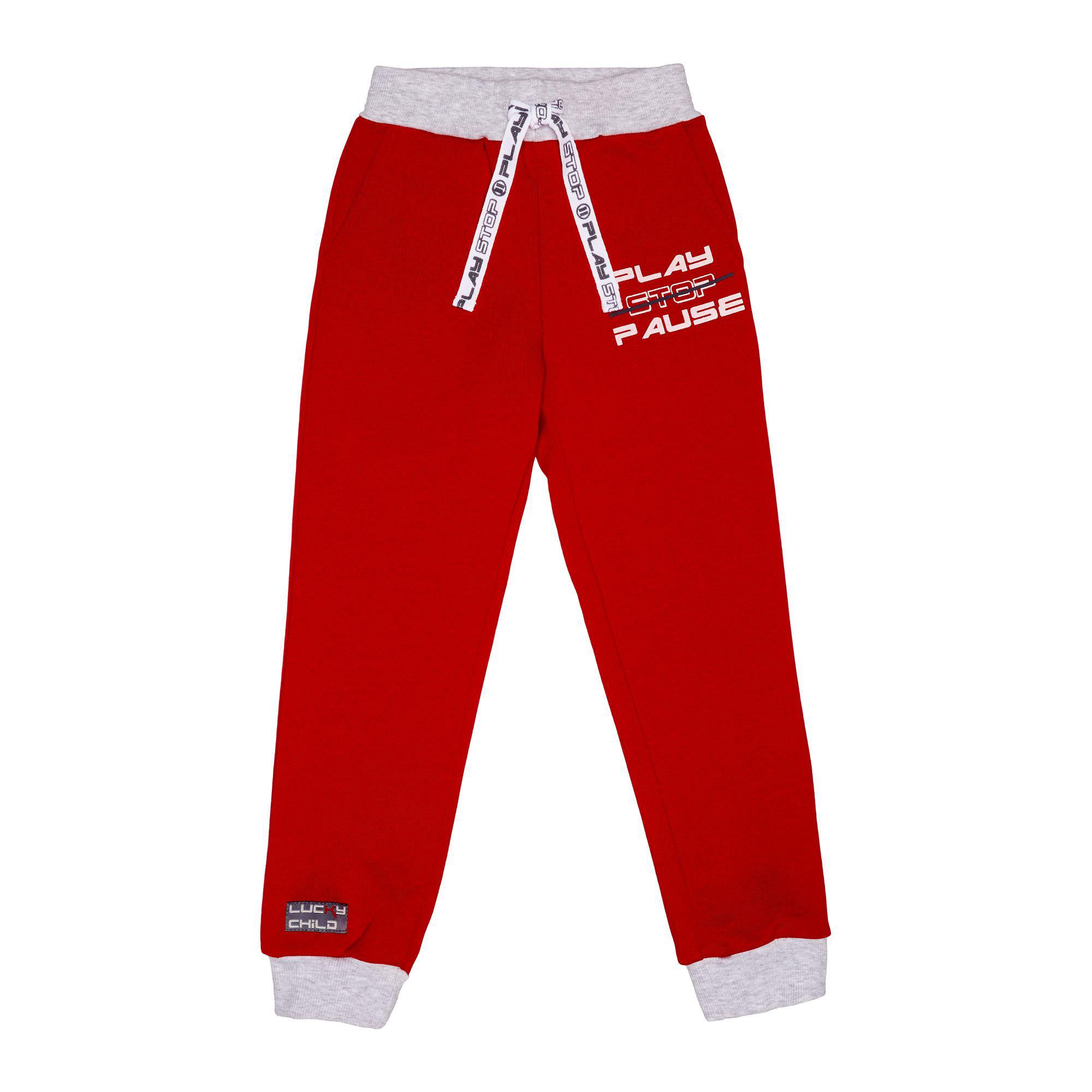 Купить Спортивные брюки Lucky Child Больше пространства красные 98-104, Красный, Футер, Для мальчиков, Осень-Зима,