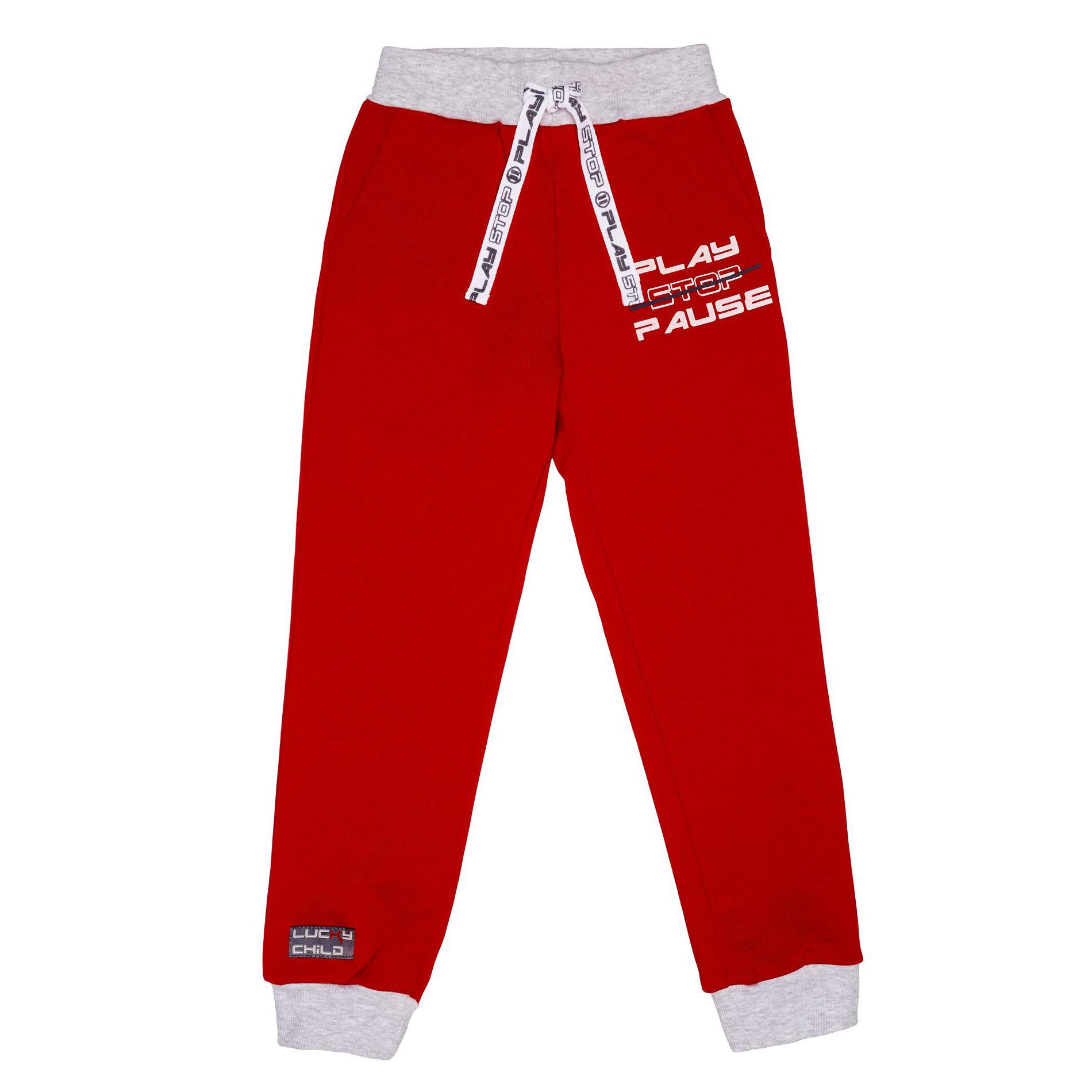 Купить Спортивные брюки Lucky Child Больше пространства красные 86-92, Красный, Футер, Для мальчиков, Осень-Зима,