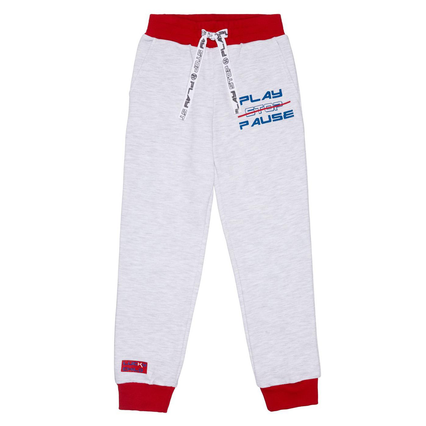 Купить Спортивные брюки Lucky Child Больше пространства серые 86-92, Серый, Футер, Для мальчиков, Осень-Зима,