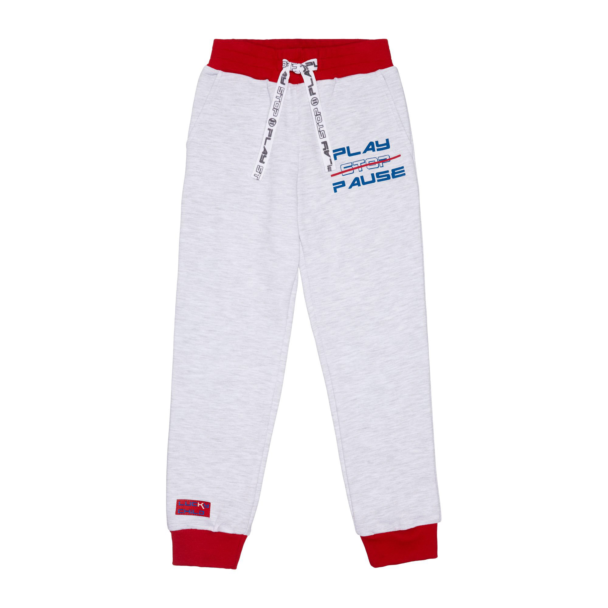 Купить Спортивные брюки Lucky Child Больше пространства серые 122-128, Серый, Футер, Для мальчиков, Осень-Зима,