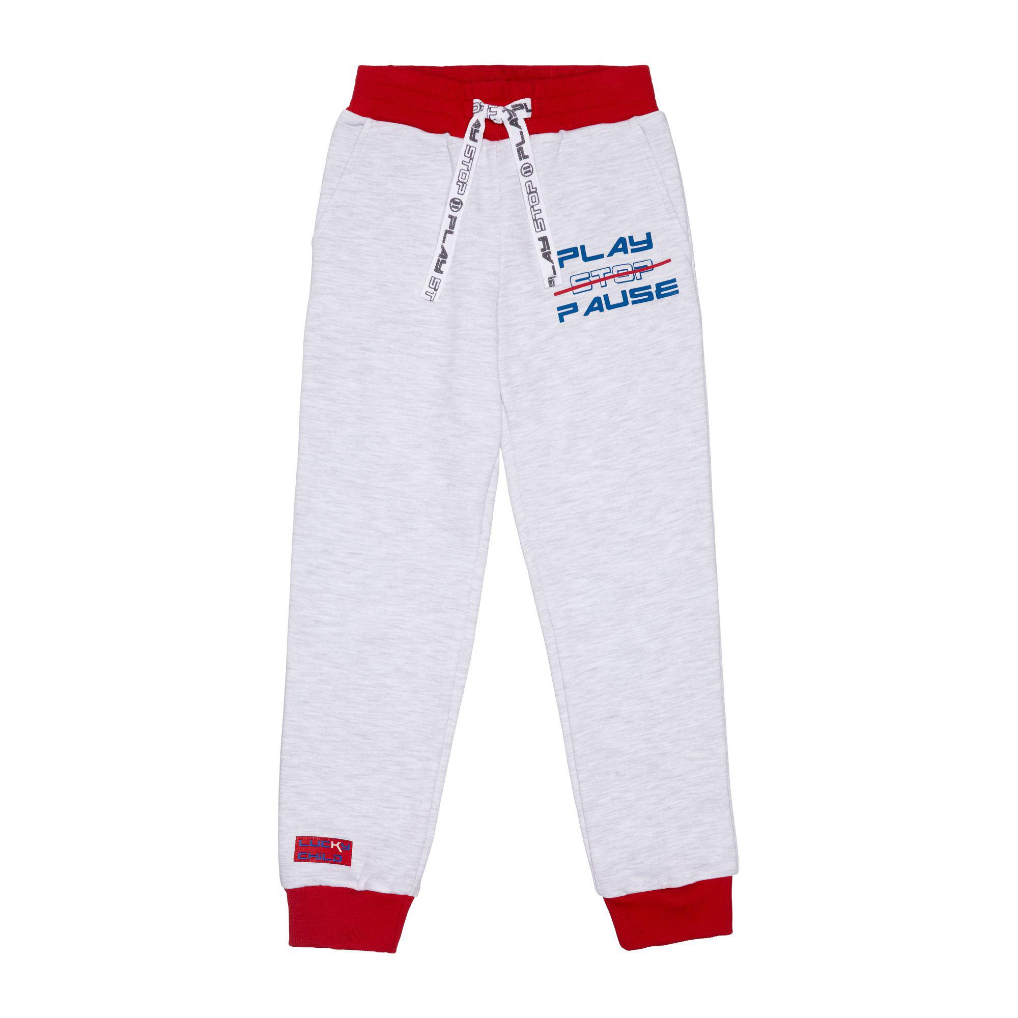 Купить Спортивные брюки Lucky Child Больше пространства серые 128-134, Серый, Футер, Для мальчиков, Осень-Зима,