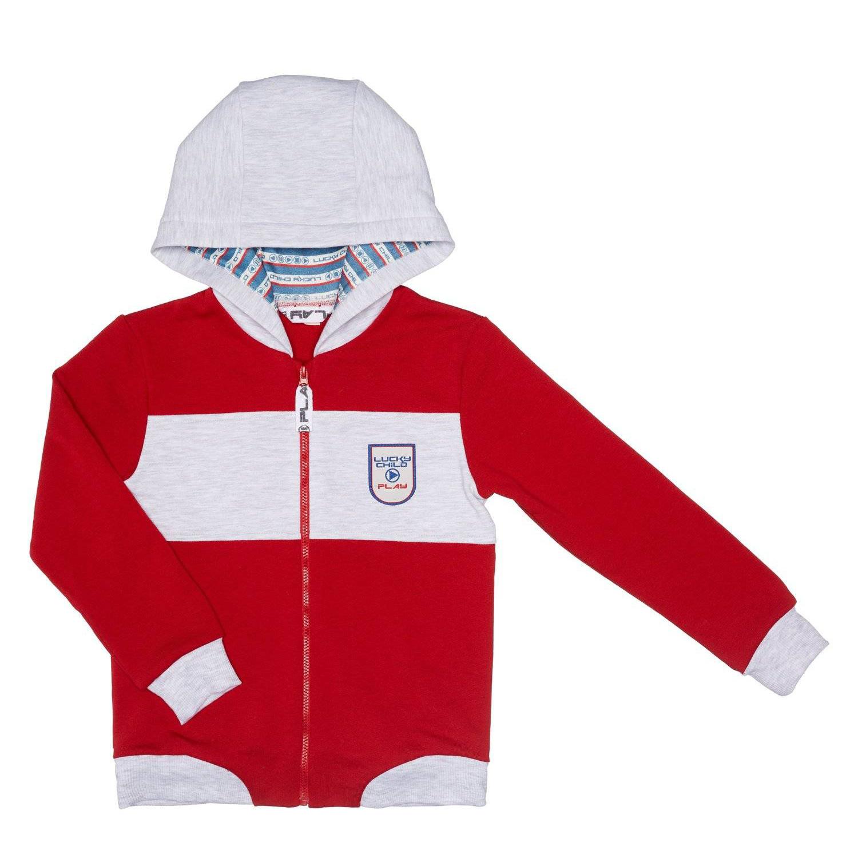 Купить Куртка Lucky Child Больше пространства красная 86-92, Серый, Футер, Для мальчиков, Осень-Зима,