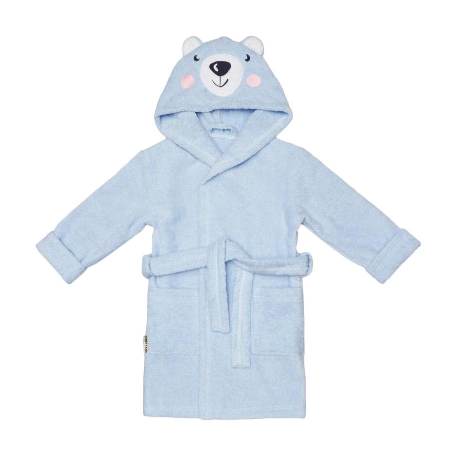 Купить Халат Lucky Child Весёлое купание Мишка голубой 86-92, Голубой, Махра, Для мальчиков, Всесезонный,