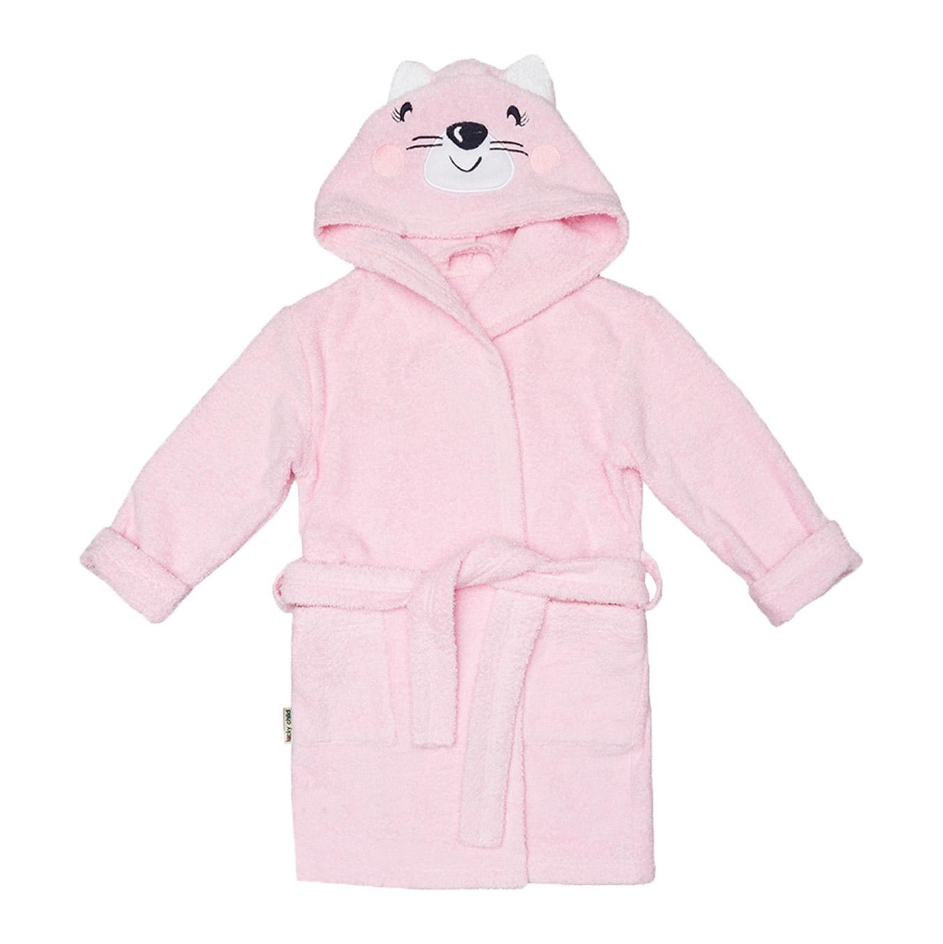Купить Халат Lucky Child Весёлое купание Котик розовый 86-92, Розовый, Махра, Для девочек, Всесезонный,