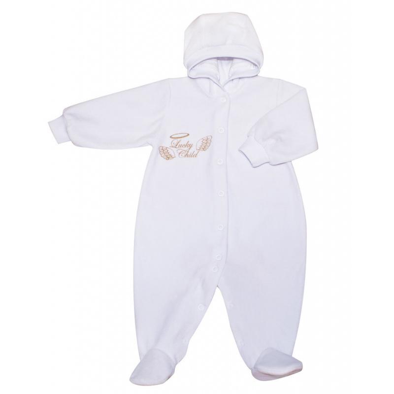 Комбинезон Lucky Child Ангелочки с капюшоном из велюра белый 68-74
