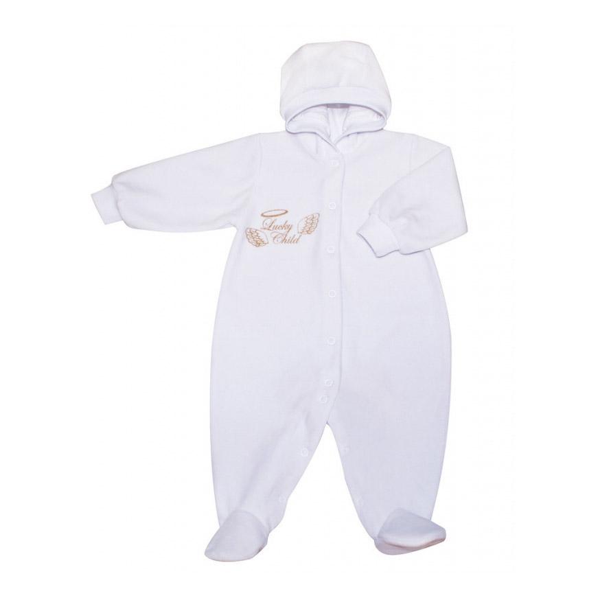 Купить Комбинезон Lucky Child Ангелочки с капюшоном из велюра белый 74-80, Белый, Велюр, Осень-Зима, Одежда для новорожденных