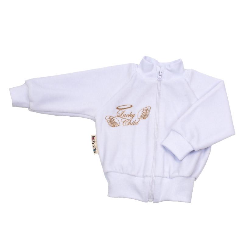 Купить Кофточка Lucky Child из велюра Ангелочки белая 74-80, Белый, Велюр, Осень-Зима, Одежда для новорожденных