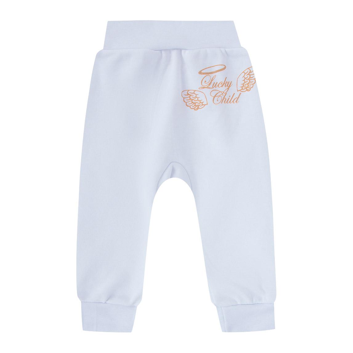 Купить Штанишки Lucky Child Ангелочки белые 56-62, Белый, Интерлок, Осень-Зима, Одежда для новорожденных