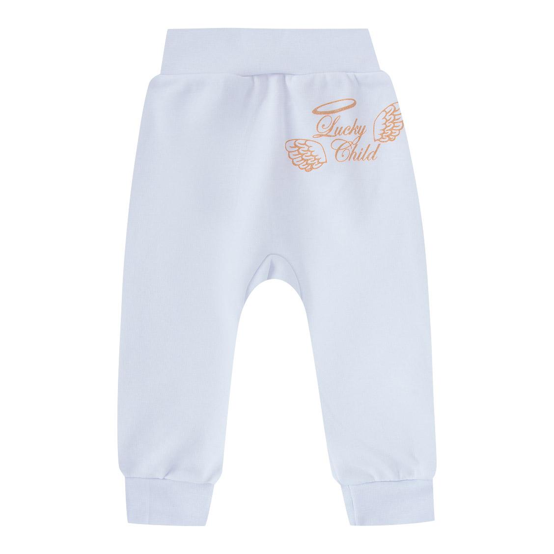Купить Штанишки Lucky Child Ангелочки белые 68-74, Белый, Интерлок, Осень-Зима, Одежда для новорожденных