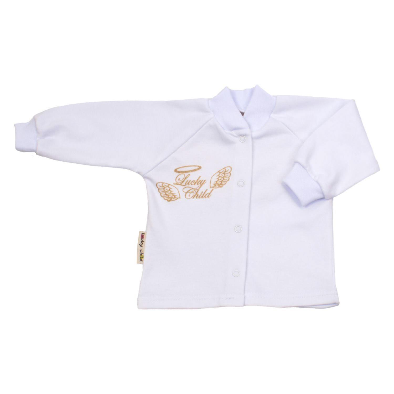 Купить Кофточка Lucky Child Ангелочки белая 68-74, Белый, Интерлок, Осень-Зима, Одежда для новорожденных