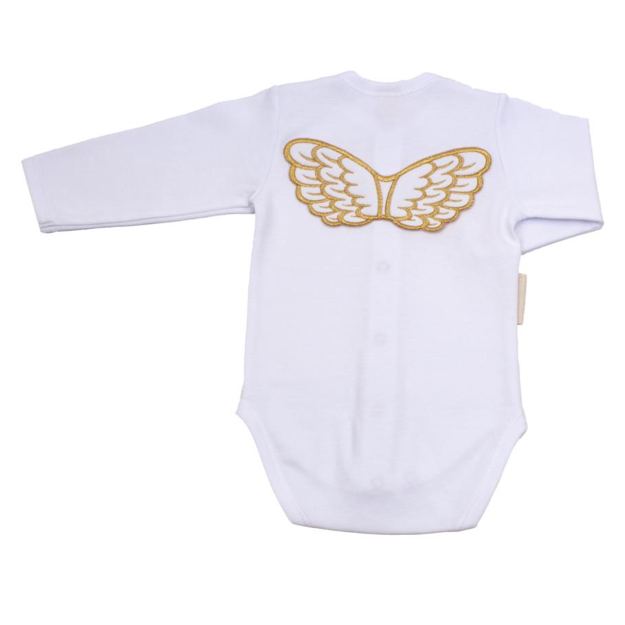 Купить Боди Lucky Child с длинным рукавом Ангелочки белый 68-74, Белый, Интерлок, Осень-Зима, Одежда для новорожденных