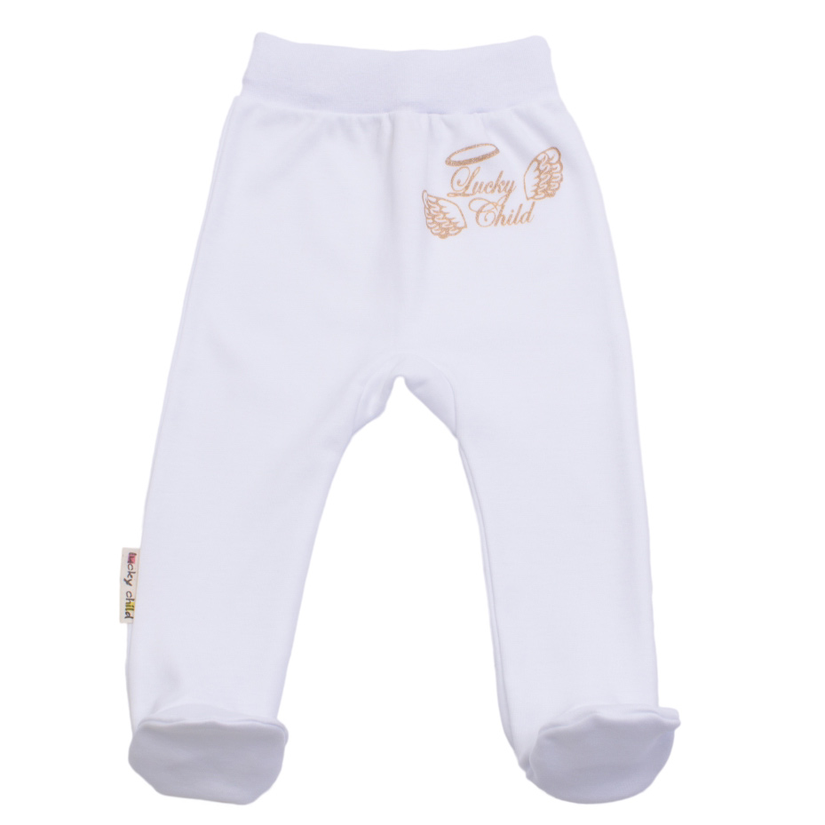 Купить Ползунки Lucky Child Ангелочки белые 68-74, Белый, Интерлок, Осень-Зима, Одежда для новорожденных