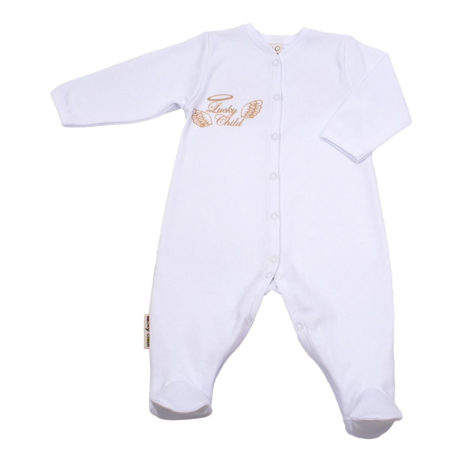 Комбинезон Lucky Child Ангелочки белый 74-80, Белый, Интерлок, Осень-Зима, Одежда для новорожденных  - купить со скидкой