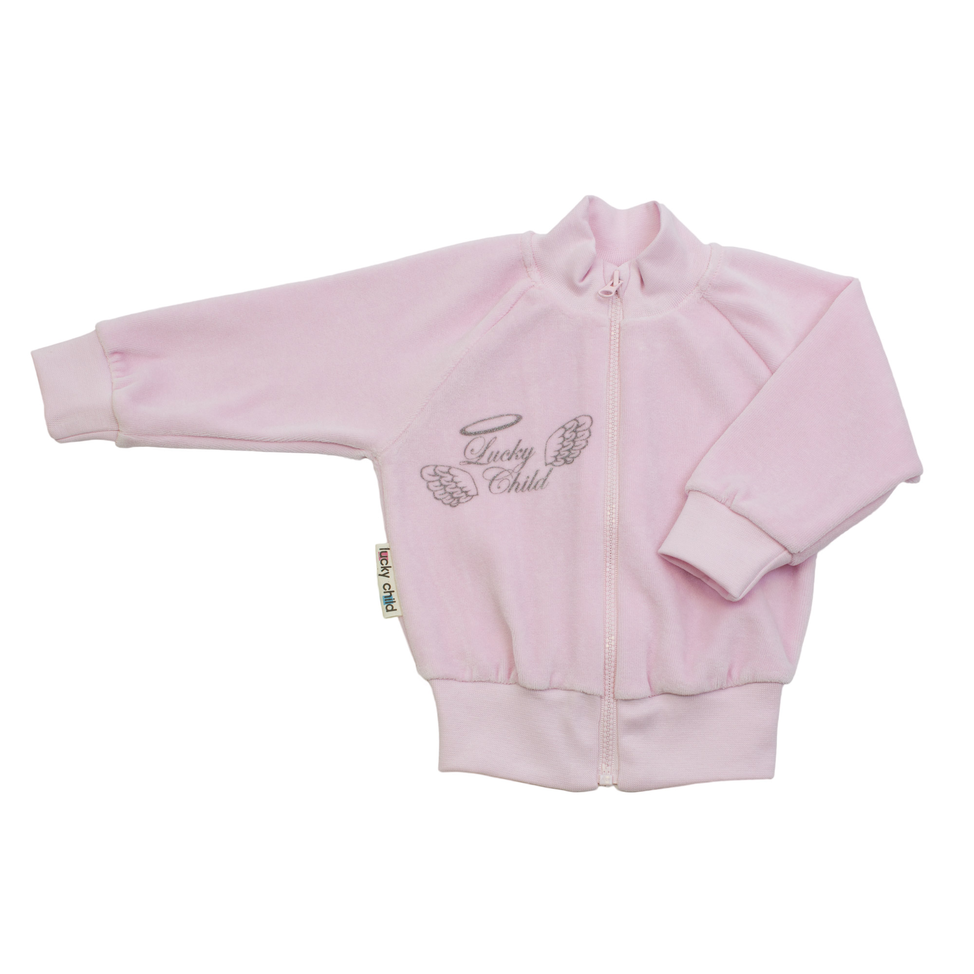 Кофточка Lucky Child из велюра Ангелочки розовая 74-80