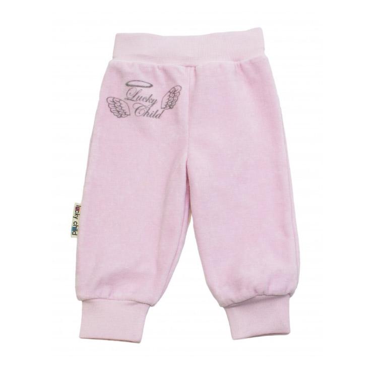 Брюки Lucky Child из велюра Ангелочки розовые 62-68