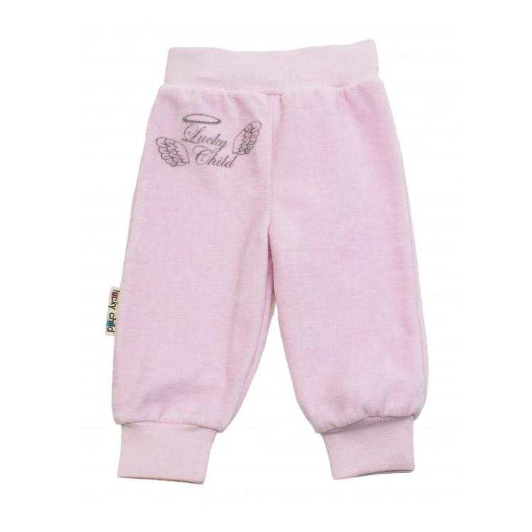 Купить Брючки Lucky Child из велюра Ангелочки розовые 68-74, Розовый, Велюр, Осень-Зима, Одежда для новорожденных