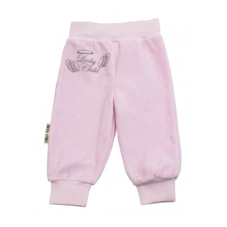 Купить Брючки Lucky Child из велюра Ангелочки розовые 74-80, Розовый, Велюр, Осень-Зима, Одежда для новорожденных