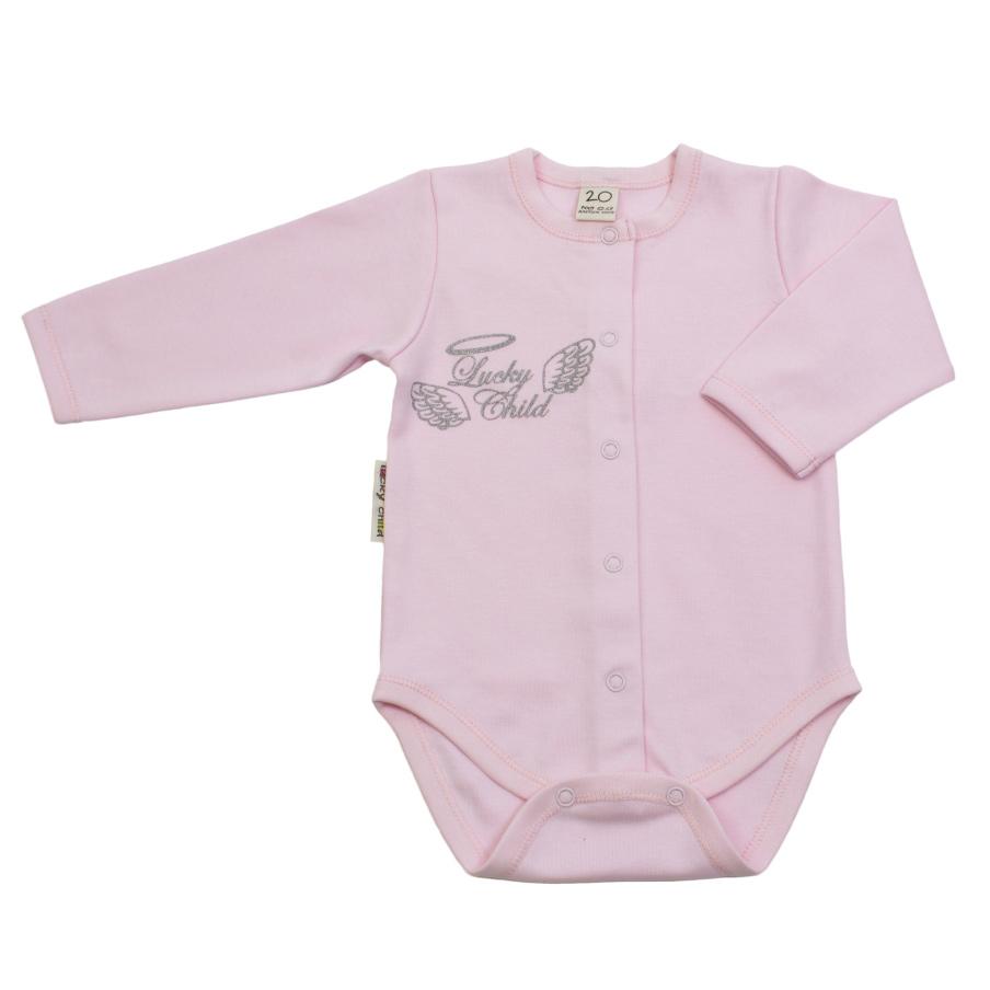 Купить Боди Lucky Child с длинным рукавом Ангелочки розовый 68-74, Розовый, Интерлок, Осень-Зима, Одежда для новорожденных