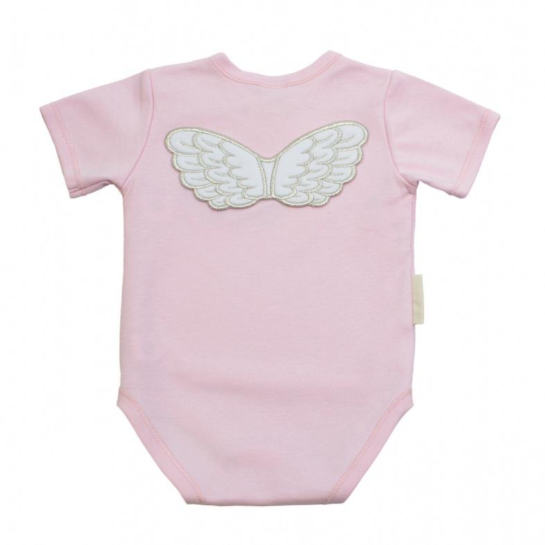 Купить Боди Lucky Child с коротким рукавом Ангелочки розовый 74-80, Розовый, Интерлок, Весна-Лето, Одежда для новорожденных
