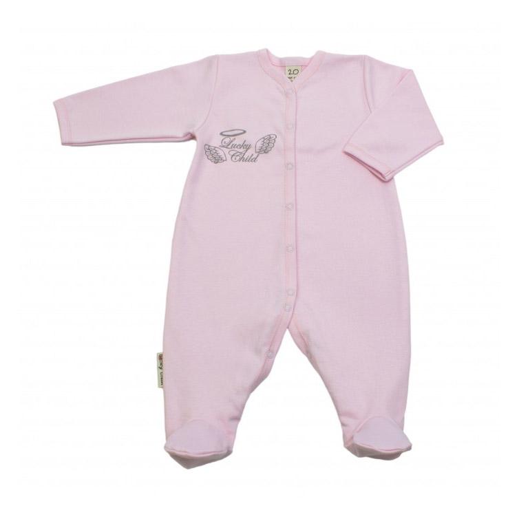 Купить Комбинезон Lucky Child Ангелочки розовый 68-74, Розовый, Интерлок, Осень-Зима, Одежда для новорожденных
