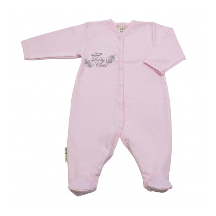 Купить Комбинезон Lucky Child Ангелочки розовый 74-80, Розовый, Интерлок, Осень-Зима, Одежда для новорожденных