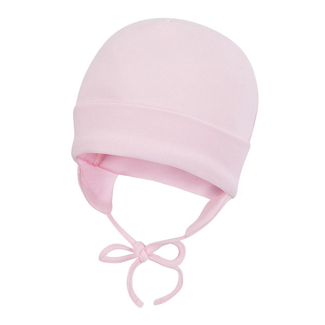 Купить Шапочка Lucky Child со шнурочками Ангелочки розовая 38, Розовый, Интерлок, Осень-Зима, Одежда для новорожденных