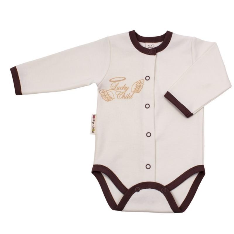 Купить Боди Lucky Child с длинным рукавом Ангелочки бежевый 74-80, Бежевый, Интерлок, Осень-Зима, Одежда для новорожденных