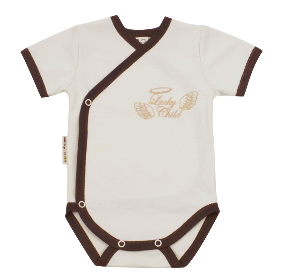Купить Боди Lucky Child с коротким рукавом Ангелочки бежевый 74-80, Бежевый, Интерлок, Весна-Лето, Одежда для новорожденных