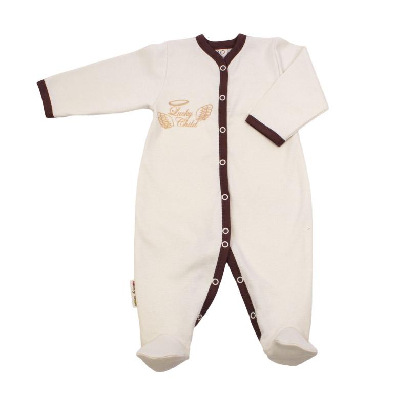 Купить Комбинезон Lucky Child Ангелочки молочный 68-74, Молочный, Интерлок, Осень-Зима, Одежда для новорожденных