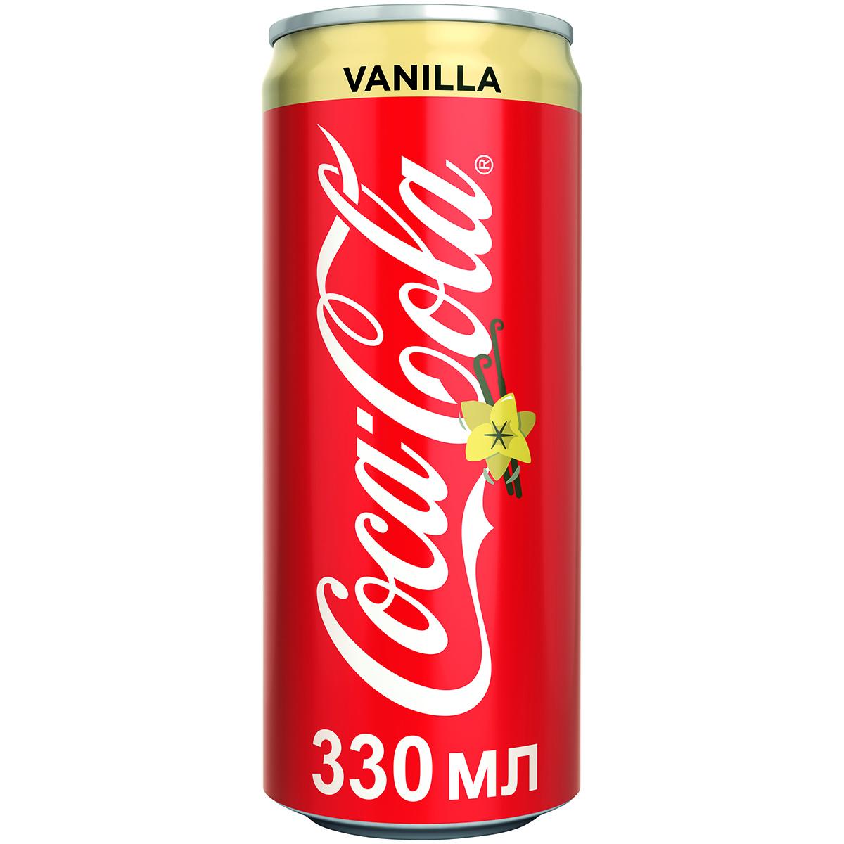 Напиток газированный Coca-Cola Vanilla 0,33 л газированный напиток coca cola vanilla сша 0 355 л 12 шт