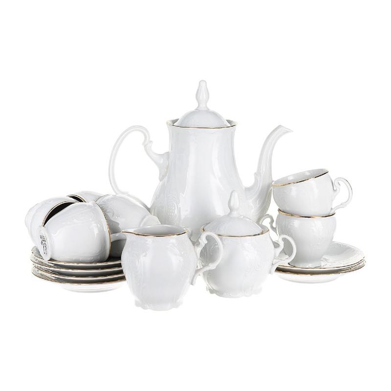 Сервиз кофейный Thun 1794 6 персон 9 предметов Отводка золото