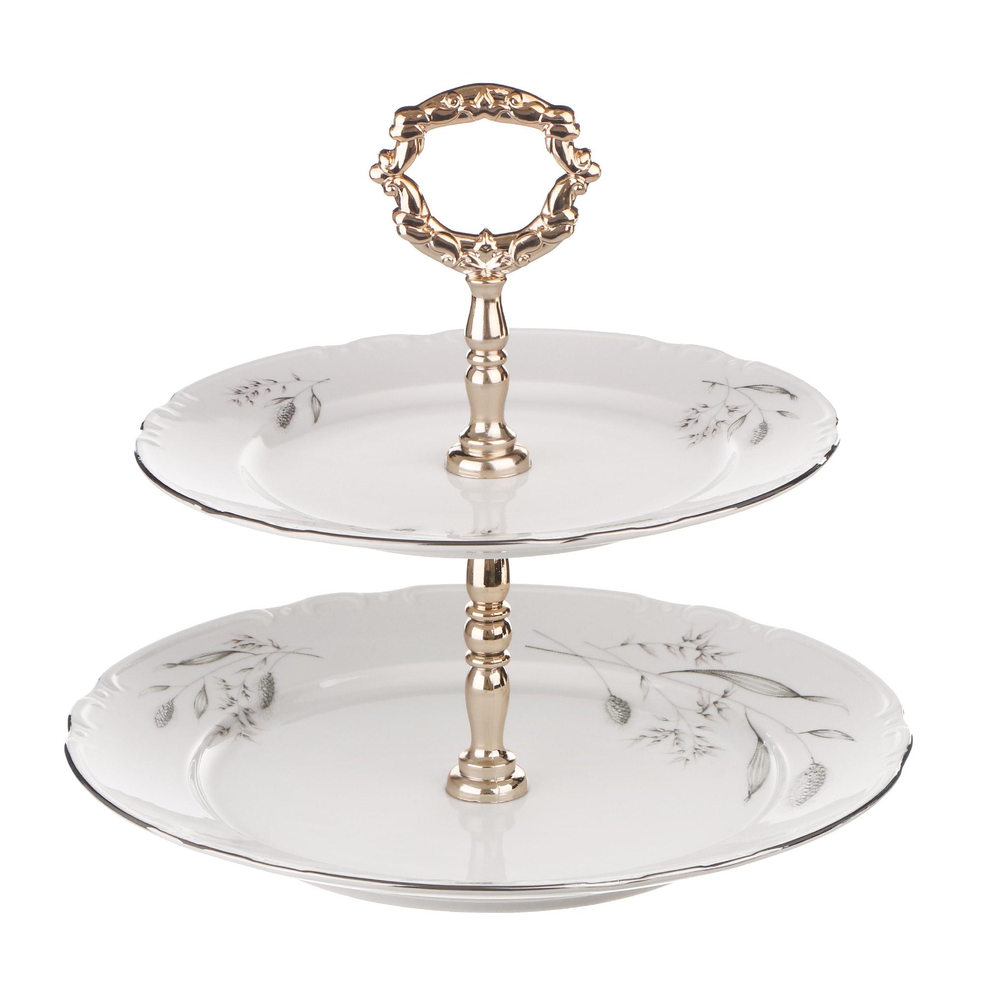 Этажерка 2-х ярусная Thun1794 декор серебряные колосья, отводка платина