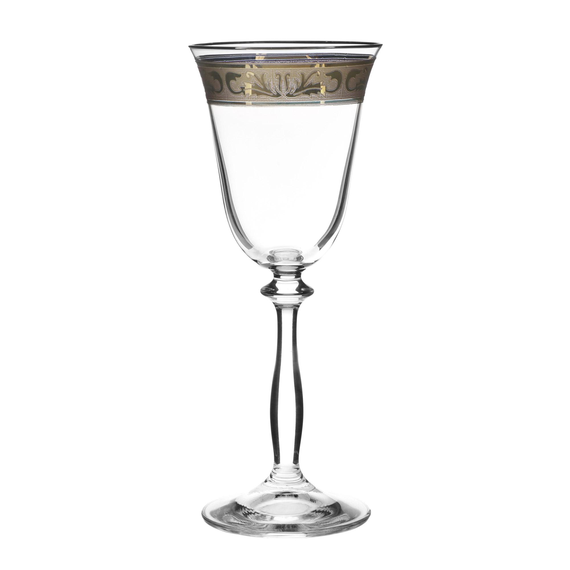 декорирование Набор рюмок для вина Crystal Bohemia ANGELA, декор Диарит, декорирование золотом, 185 мл (набор 6 шт)