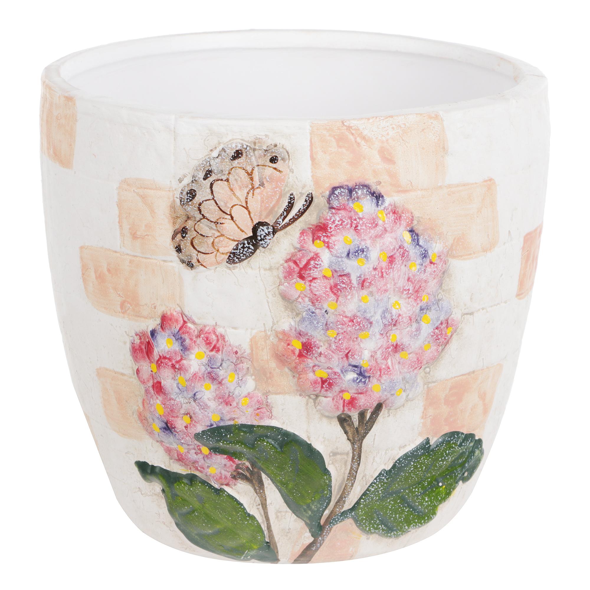 Горшок цветочный с поддоном Dehua ceramic pink flower d18