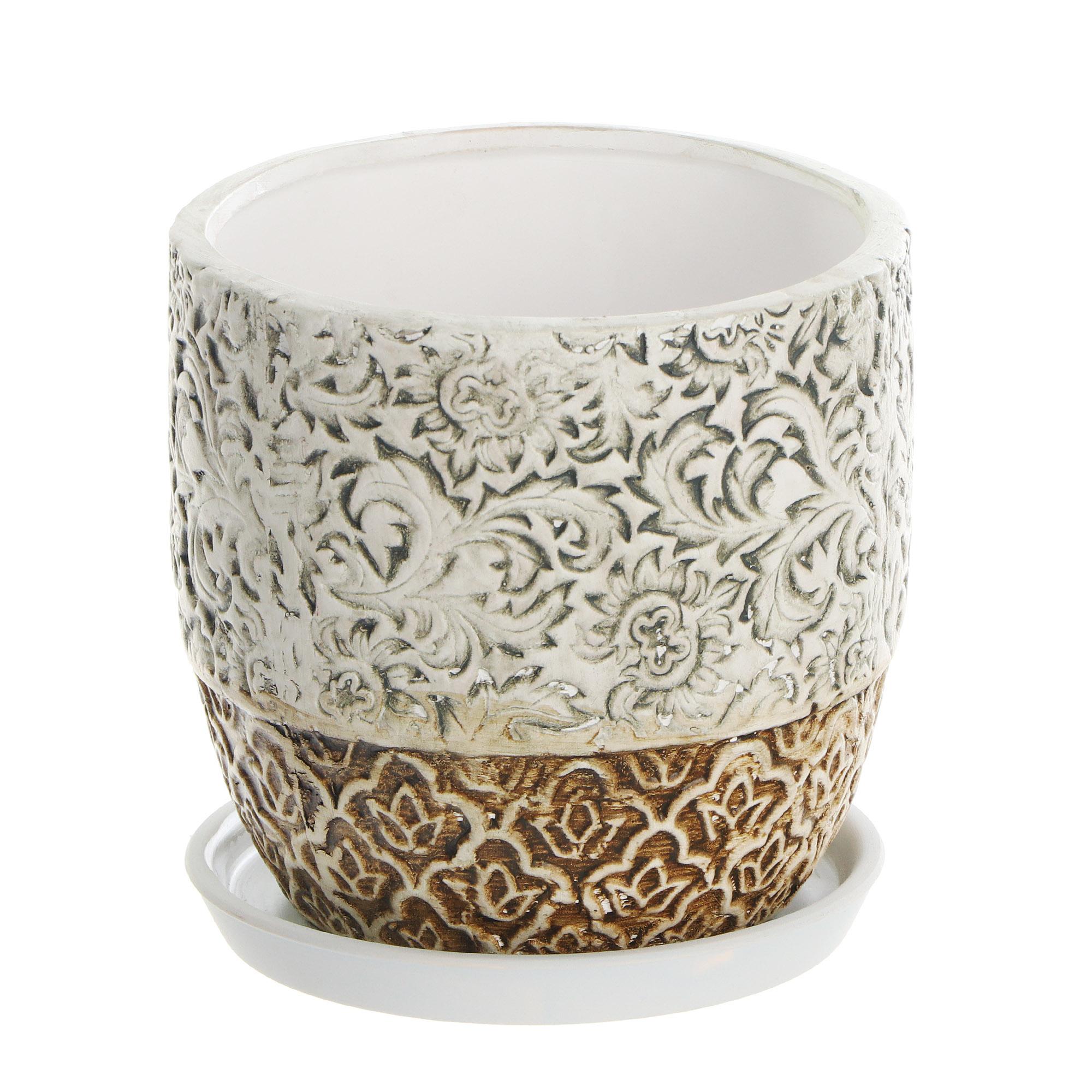 Горшок цветочный с поддоном Dehua ceramic flower pattern 18x18x16см