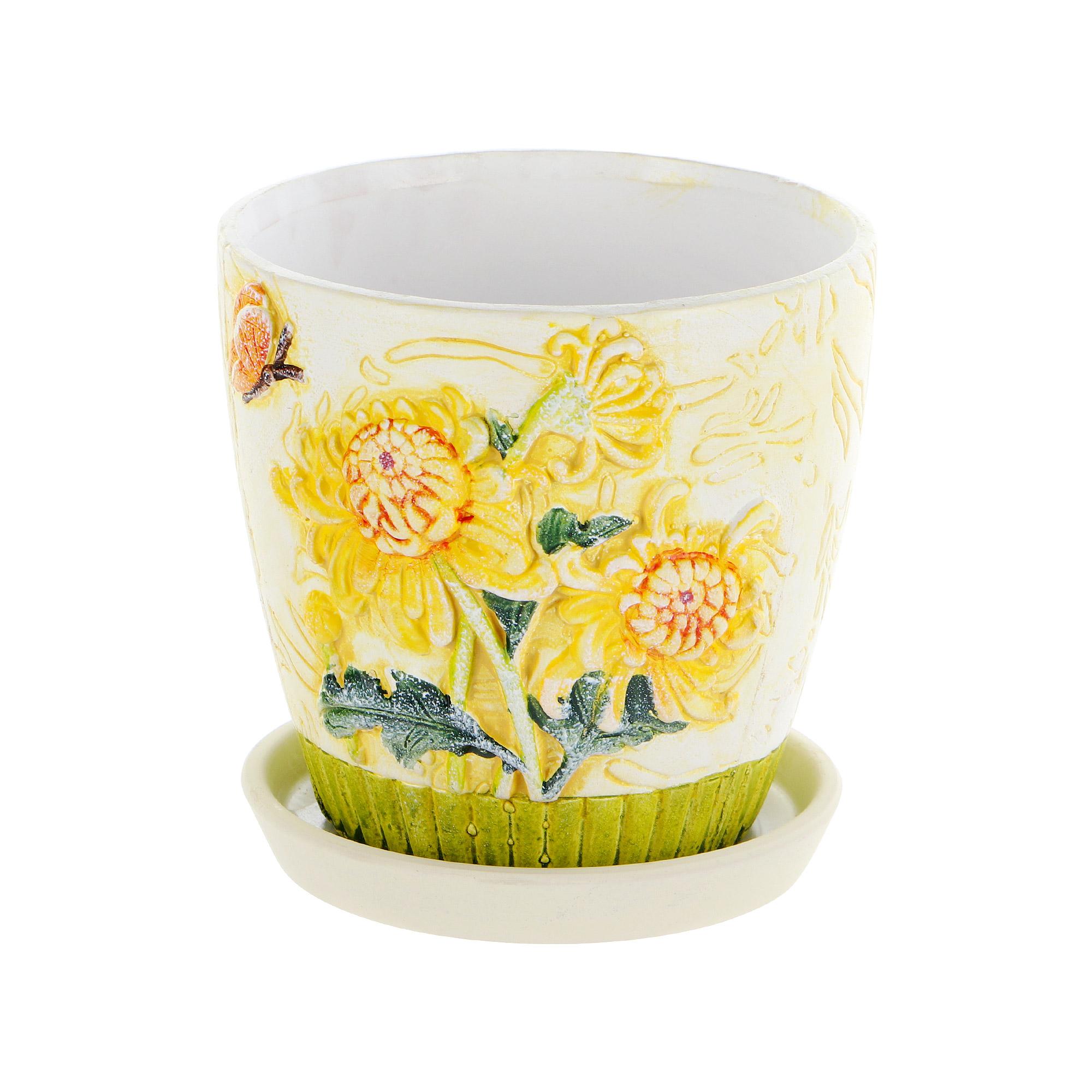 Горшок цветочный с поддоном Dehua ceramic yellow flower 15x15x14см