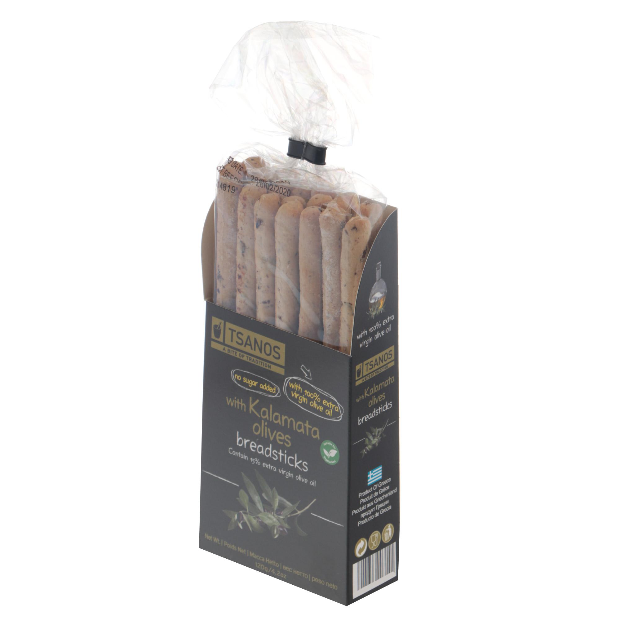 Фото - Хлебные палочки Tsanos с оливками Каламата 120 г хлебные колечки tsanos мультизерновые 70 г