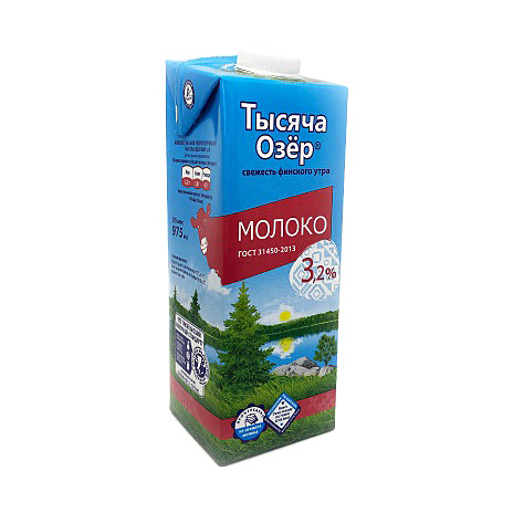 Фото - Молоко Тысяча Озер ультрапастеризованное 3,2% 0,975 л молоко элакто ультрапастеризованное 3 2% 1 л