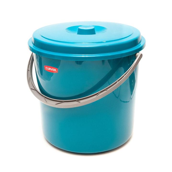 Ведро Curver с крышкой 12л голубое
