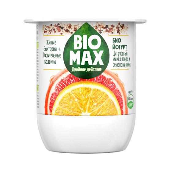 Биойогурт BioMax Цитрусовый микс семена льна киноа 24% 125г.
