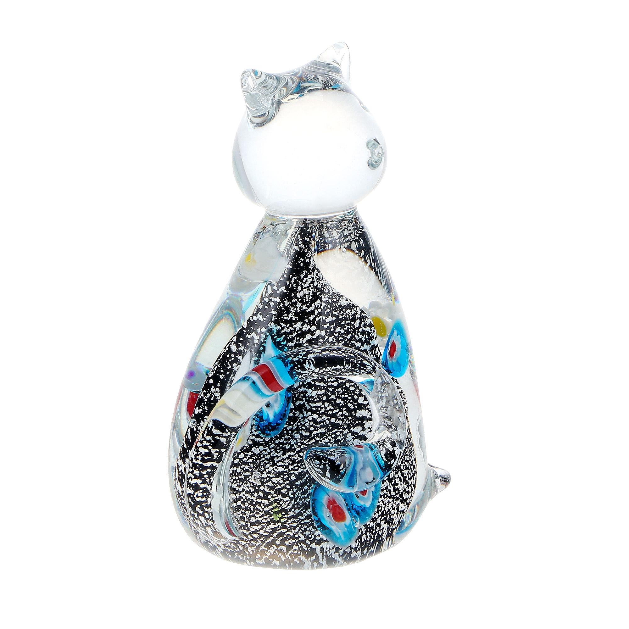 Фигурка Art glass серебряный котенок 7x11.5 см