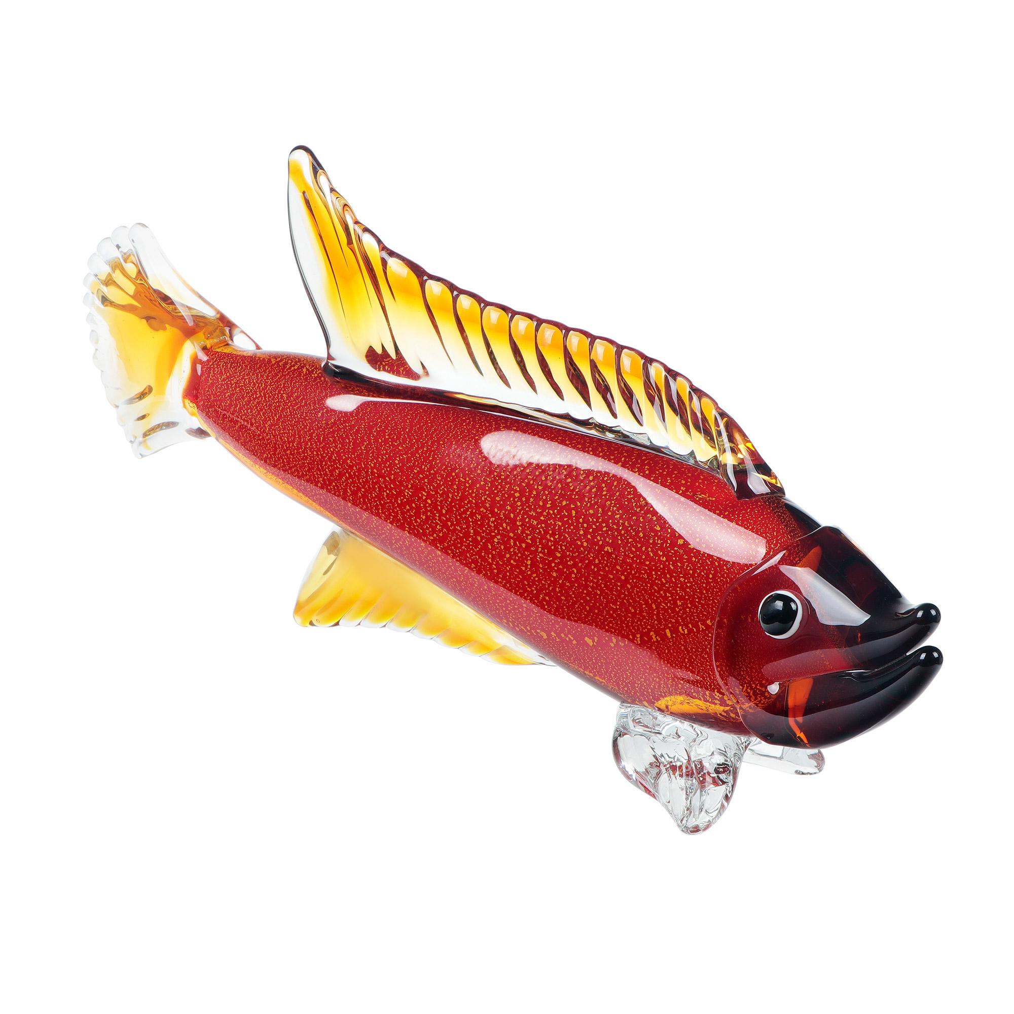 Фигурка Art glass рыба янтарная 49x10.5x23.5 см