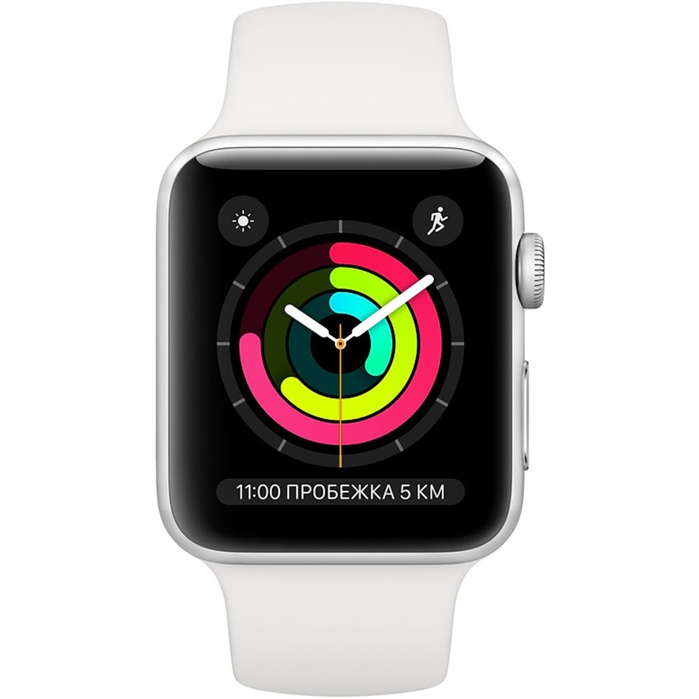 Фото - Смарт-часы Apple Watch Series 3 42 мм серебристый, спортивный ремешок MTF22RU/A смарт часы samsung galaxy watch 1 3 super amoled серебристый sm r800nzsaser