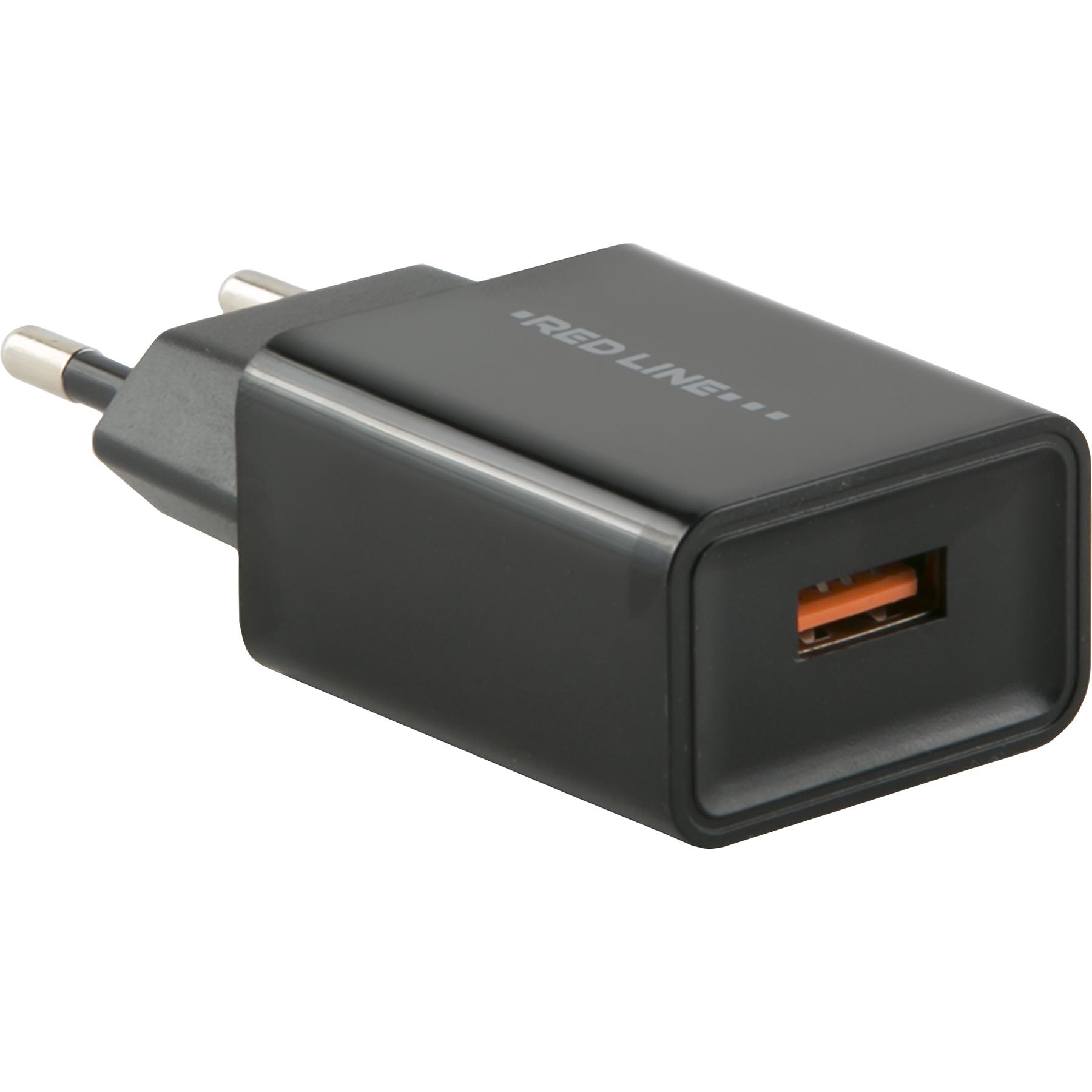 Фото - Сетевое зарядное устройство Red Line Tech USB QC 3.0 NQC1-3A черный автомобильное зарядное устройство belkin f8j054btblk usb 2 4а черный