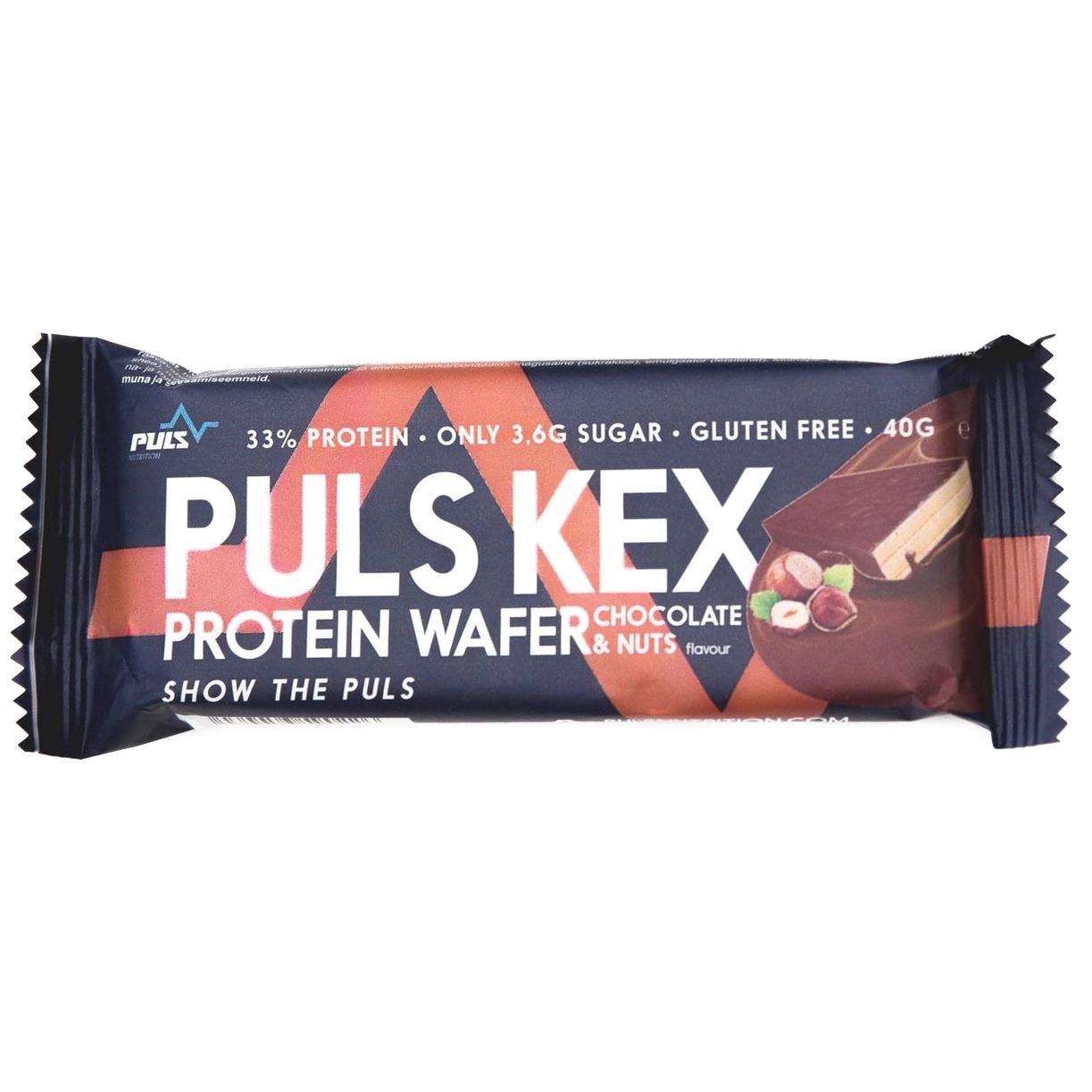 Вафли белковые Puls Nutrition Шоколад и фундук 40 г