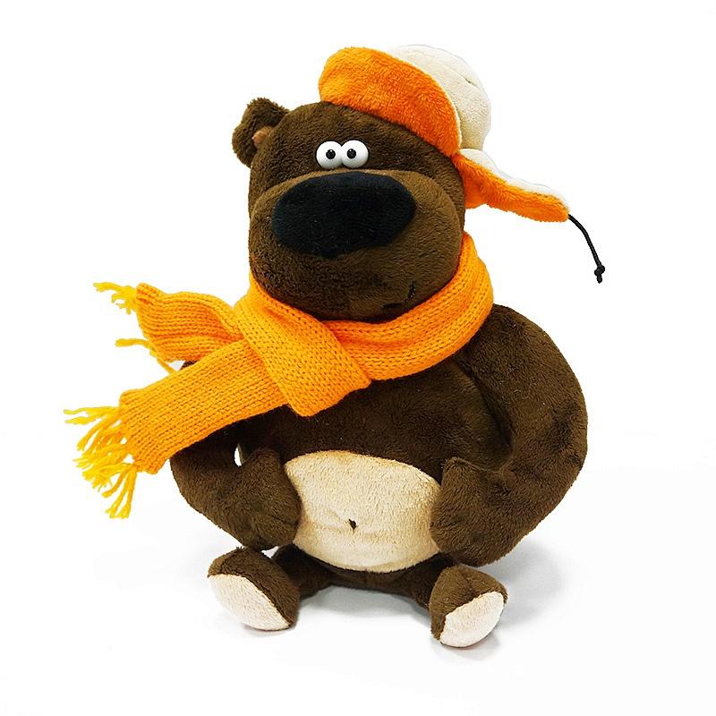 Купить Мягкая игрушка ДуRашки Просто Medved 25 см, Maxitoys, коричневый, оранжевый, искусственный мех, синтетическое волокно, элементы из пластмассы
