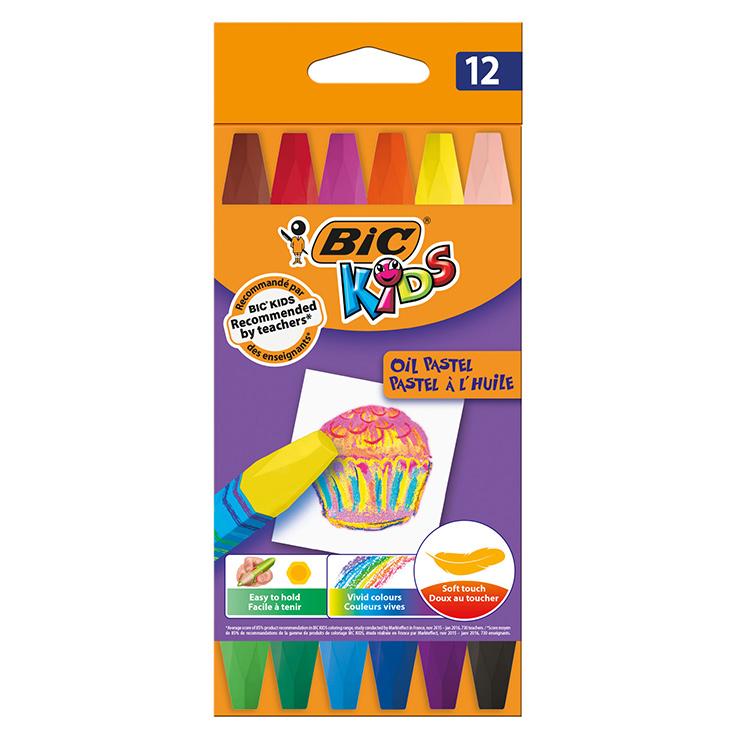 Цветные мелки BIC Oil Pastel 12 цветов.