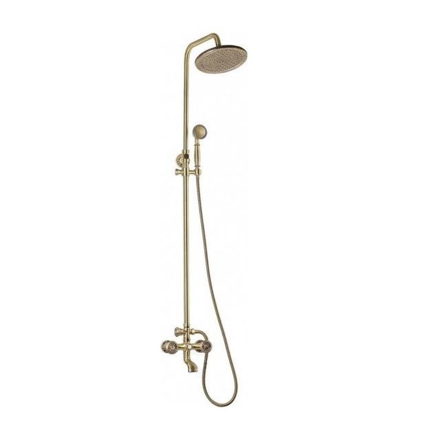 Комплект для ванной и душа двухручковый короткий (10см) излив, лейка круг Bronze de Luxe 10121r royal фото