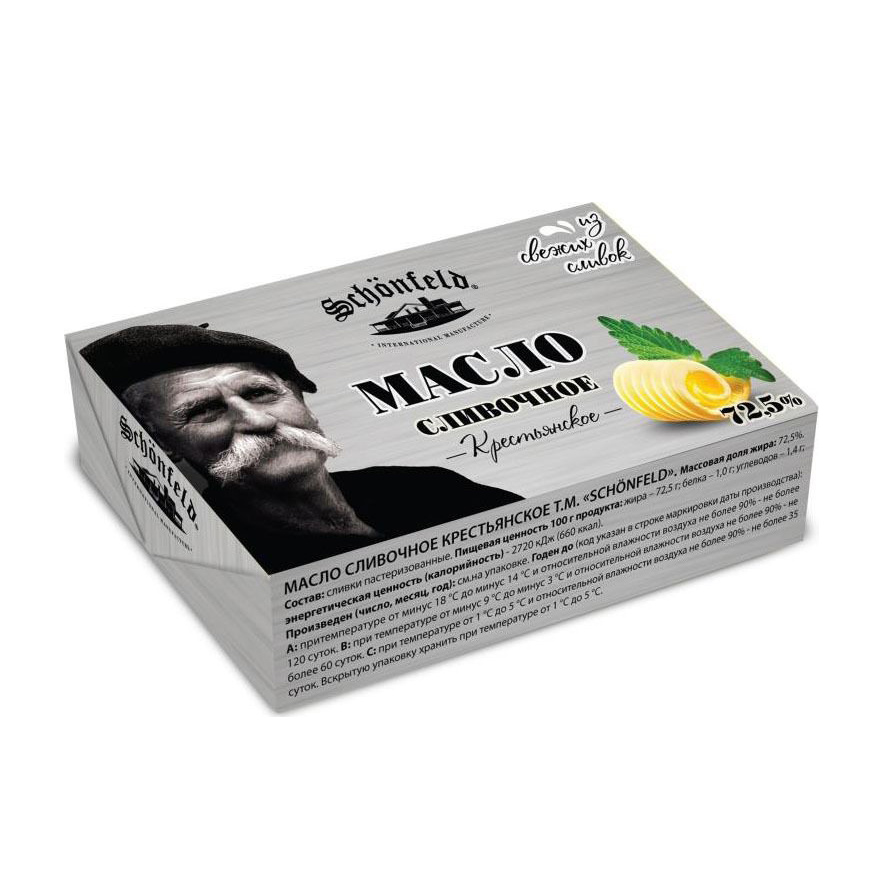 Фото - Сливочное масло Schоnfeld Крестьянское 72,5% 180 г масло у палыча сливочное с травами прованса 62% 180 г
