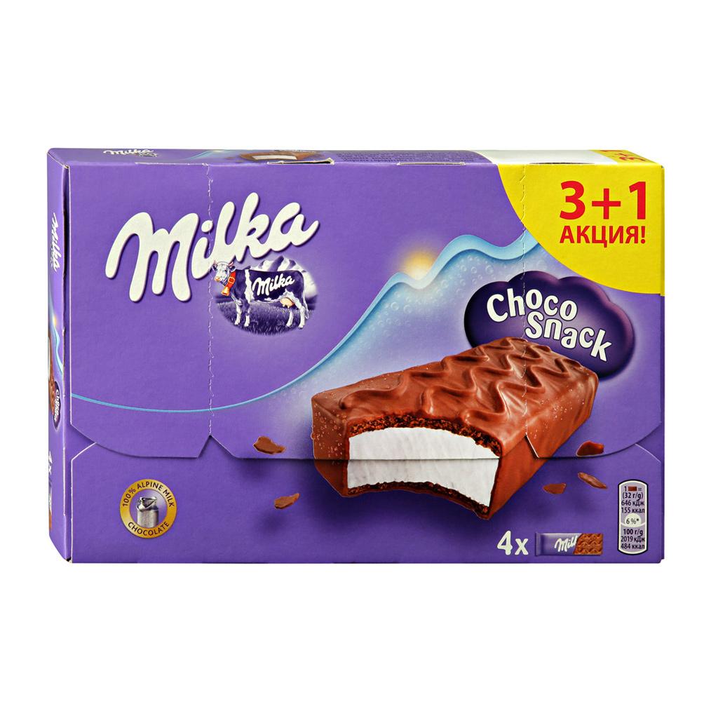 Пирожное Milka бисквитное с кремом в молочном шоколаде Шоколадный Перекус 3+1 128 г фото